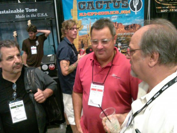 The meeting of the Vinces. Gill and Nettuno at Summer NAMM 2013.