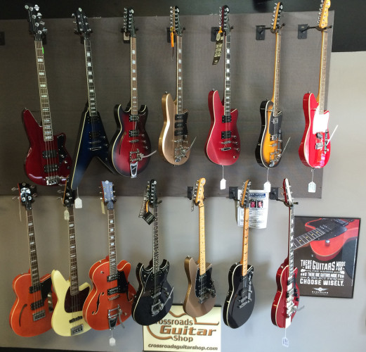 Reverends guitars and basses on display